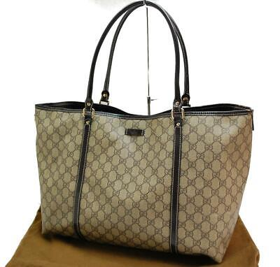 Auth GUCCI GG Shoulder Tote Bag PVC Leather Brown 0602a