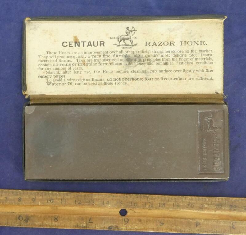 RARE Vintage Centaur Razor Knife Sharpening Hone Stone w/ Box !