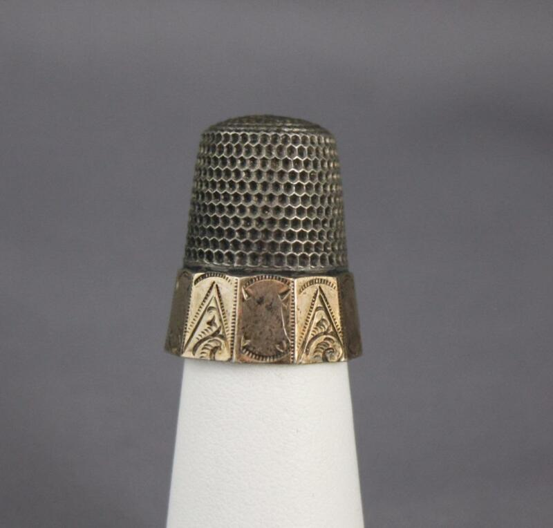 VTG Waite Thresher Sterling Silver Size 12 Vermeil 10 Panel Etched Thimble