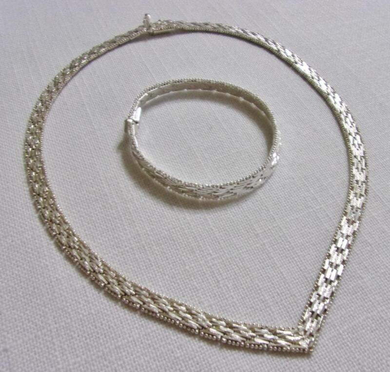 "RICCIO Vintage Italy Sterling Silver 17""  V Necklace & 7"" Bracelet Set 50 Grams"