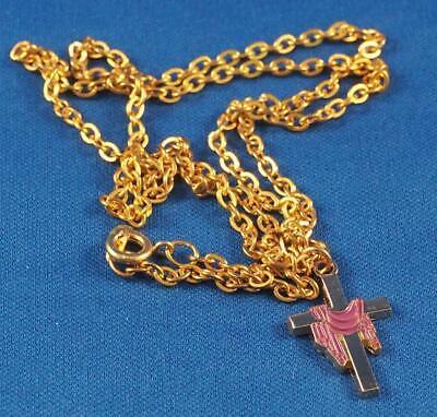 Vintage Religious Medallion Pendant & Chain Crucifix