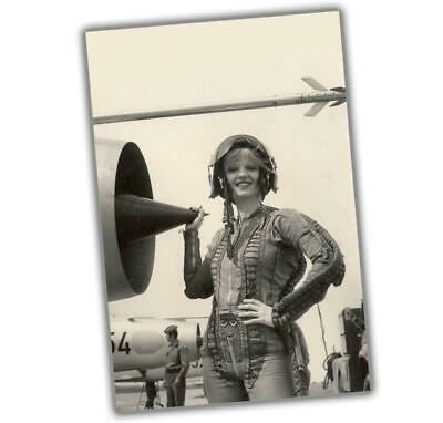 Korea War Sexy Woman near the engine girl in pilot costume Size