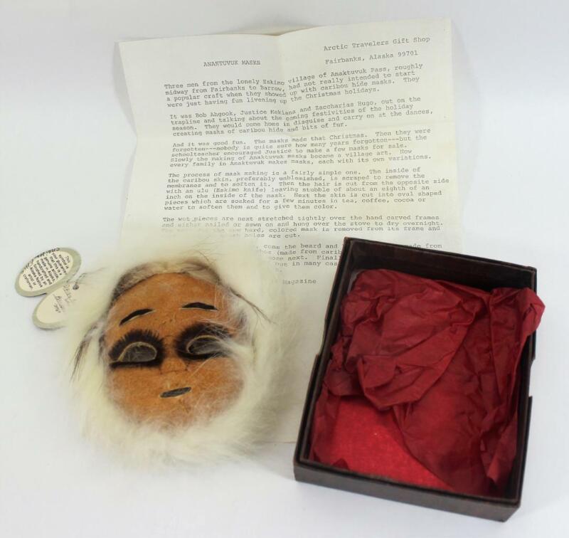 Vintage Alaskan Anaktuvuk Mask Caribou & White Fox Signed Daisy Katapack Barrow