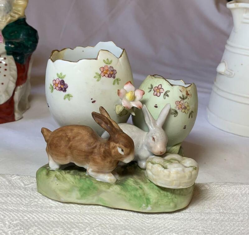 Easter Bunny Rabbit Egg Vase Antique Bisque Germany France Heubach c1900