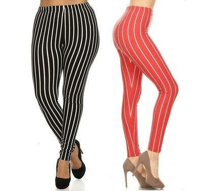 PLUS SIZE PINSTRIPED FOOTLESS LEGGINGS ONE SIZE QUEEN 14-22