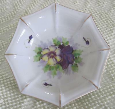 "SAJI Fancy China Hand Painted Octagonal 7.5"" Floral Bowl Made in Occupied Japan"