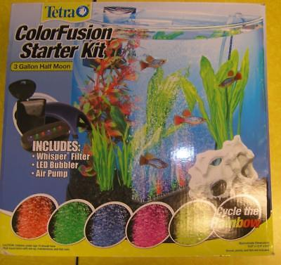 Tetra Colorfusion Led Bubbler Half Moon Aquarium Kit, 3 Gallons Whisper filter