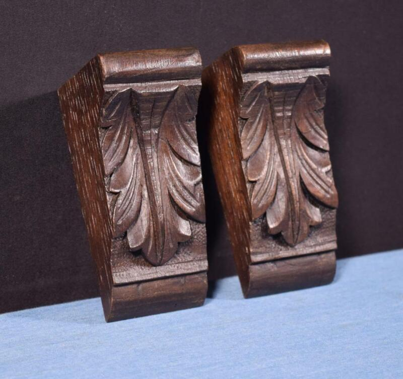 "*Pair of 5"" French Antique Corbels/Pillars/Brackets in Chestnut Wood Salvage"