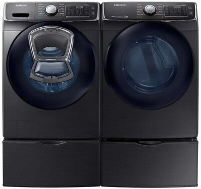 Samsung Black Stainless Washer Electric Dryer Pedestals WF45K6500AV DV45K6500EV