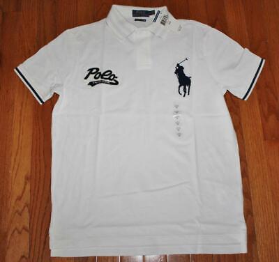 NWT Mens Polo Ralph Lauren Custom SLIM Fit Polo Shirt BIG PONY & SCRIPT LOGO (White Ralph Lauren Polo)