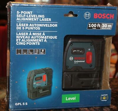 Bosch GPL 5 S 100 ft. 5 Self Leveling Plumb and Square Point Alignment Laser New