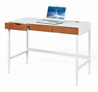 3 Schublade Eiche Schreibtisch (Schreibtisch SCANDICI Bürotisch 3 Schubladen Weiß Eiche massiv)