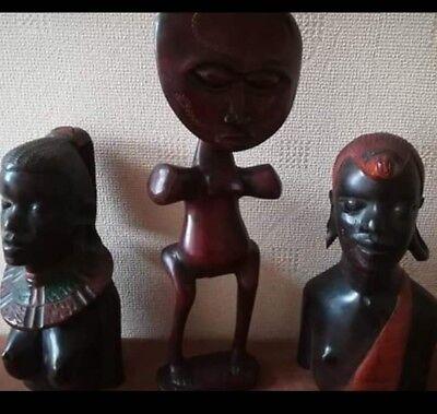 Wooden African Figures X 3