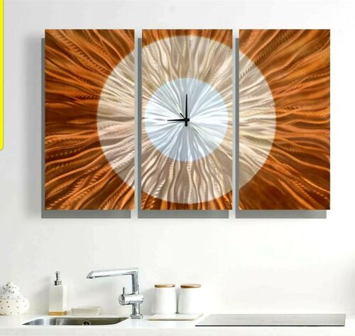 Large Contemporary Wall Clock with Orange, Gold and Amber Je