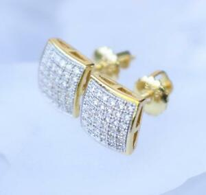 MENS/WOMENS 14K YELLOW GOLD FINISH REAL SILVER .925 SMALL SQUARE CLASSY EARRINGS