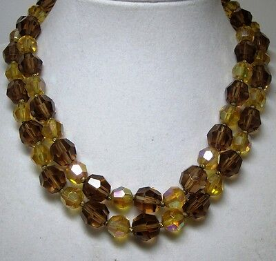 - Vintage Brown Topaz Citrine Aurora Borealis Crystal Bead  Double Strand Necklace