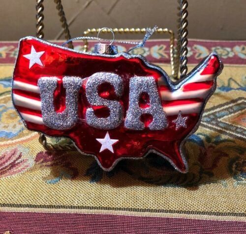 Patriotic Blown Glass Flag Map American USA Red White Blu Christmas Ornament NEW