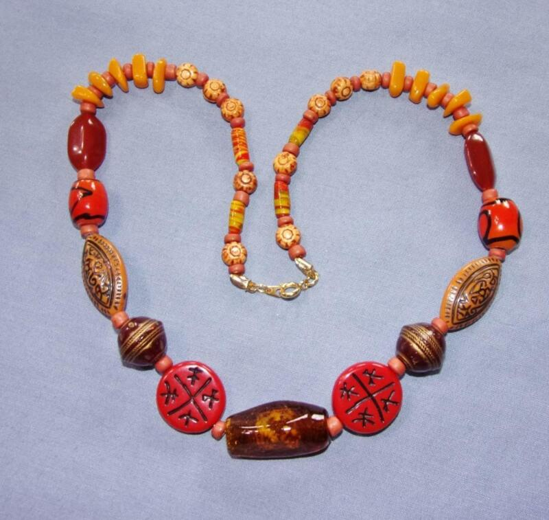 Very Colorful Mixed Bead & Abstract Design Necklace