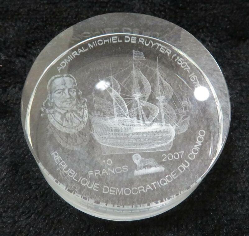2007 Admiral Michiel De Ruyter * 10 Francs * Congo * Really Cool Acrylic Coin!
