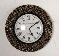 Vintage Home Decor Antique Look Brass Engraving Work Wall Clock Ethnic India 242