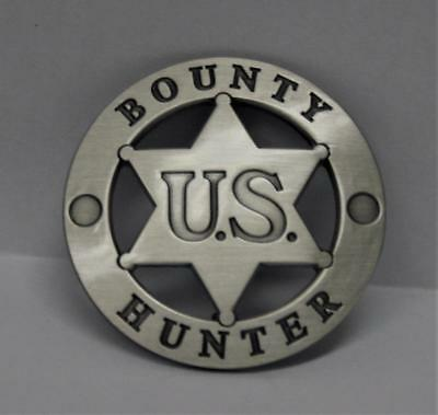 Hard to Find <> U.S. Bounty Hunter Badge <> Round with Center Star Brush Finish