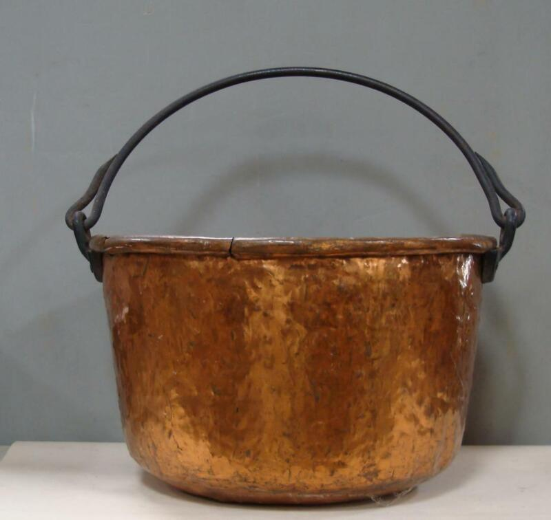 Huge Antique Hammered Copper Metal Cauldron Apple Butter Pot Kettle - no stand