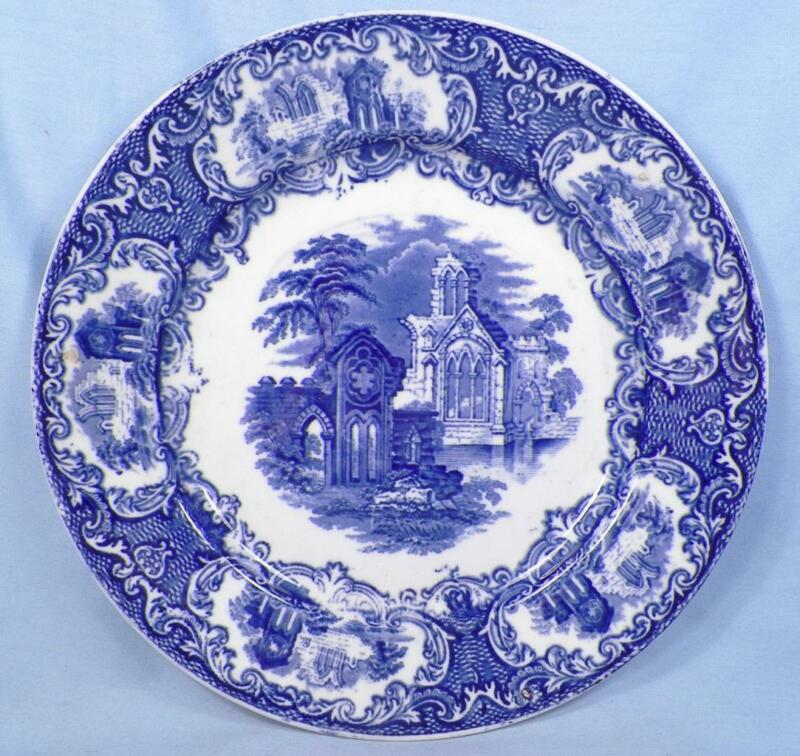 Petrus Regout Abbey Luncheon Plate Blue Transferware Maastricht Holland