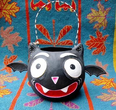 Glitterville Halloween Baby Teeth Bat Paper Mache Jack O'lantern Large New (Large Halloween Paper Lanterns)