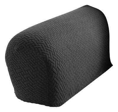 2 Piece Armrest Covers Stretchy Gray Chair or Sofa Arm -Charcoal Grey-US Seller ()