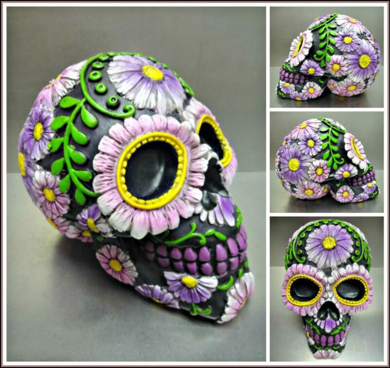 Day of The Dead Sugar Large SKULL Skeleton HEAD Daisy Sculpture Halloween Decor.