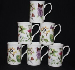 SET OF 6 FINE BONE CHINA SUMMER WOODLAND BUTTERFLY MUGS CUPS GIFT SET