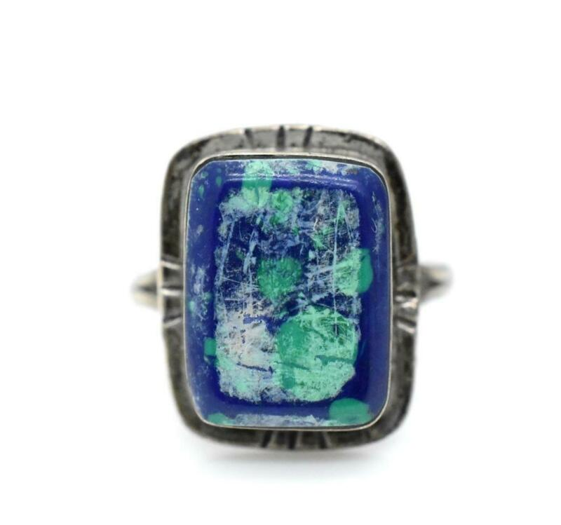 Mexico Taxco TD-25 Sterling Silver 925 Blue & Aqua Azurite Stone Ring Size 8.75