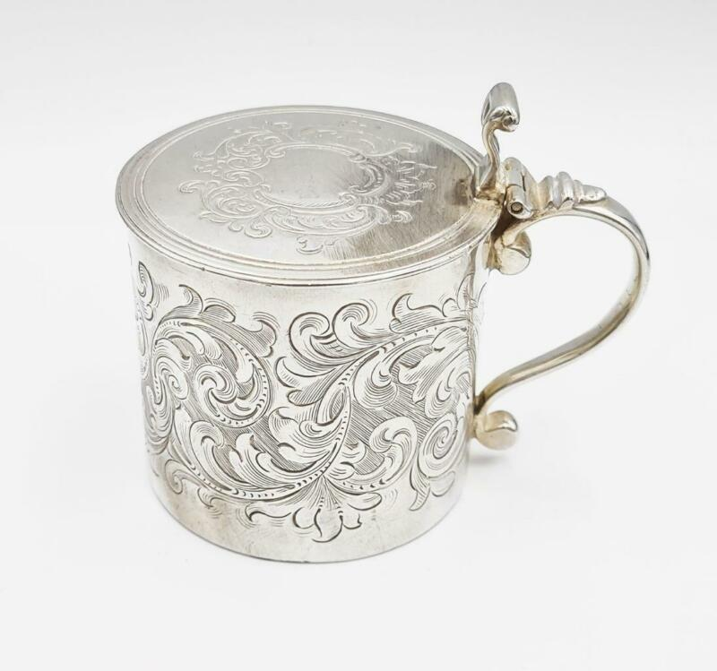 Rare GEORGE III STERLING SILVER LARGE MUSTARD POT London 1764 AUGUSTIN LE SAGE