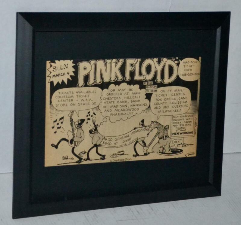 PINK FLOYD 1973 RARE MADISON COLISEUM PROMO FRAMED CONCERT AD ROGER WATERS