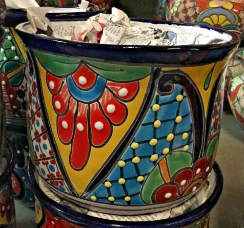 TALAVERA MEXICAN POTTERY - CURVED SET OF 3 PLANTERS      *FREE FREIGHT*