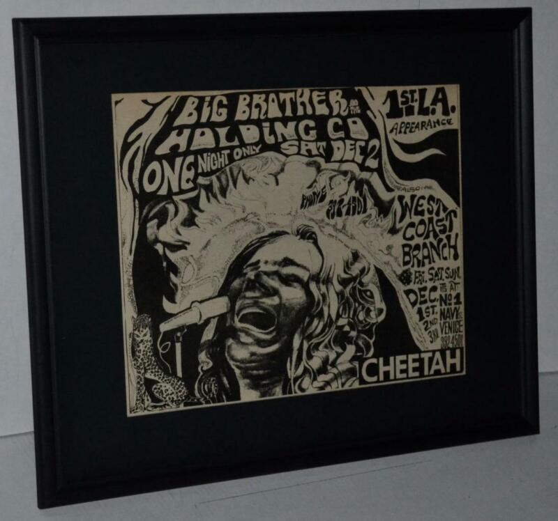 JANIS JOPLIN BIG BROTHER RARE 1ST L.A. SHOW 1967 ORIGINAL CONCERT FRAMED AD