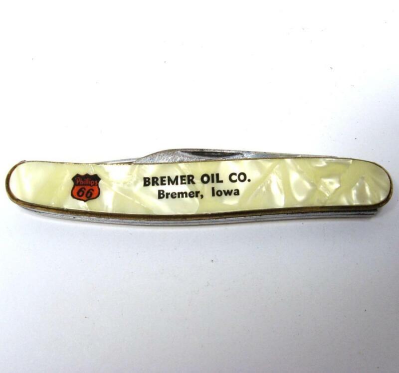 VTG Bremer Oil Co Iowa ADV Pocket Knife Ambassador USA 2 Blade Phillips 66 Gas