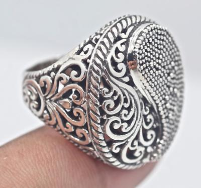 Handmade Sterling Silver .925 Bali Ying Yang Large Detailed Filigree Dome Ring.