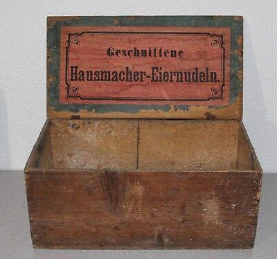 große antike Holzkiste Kaufladen Tante Emma, Hausmacher Eiernudeln ca. 1910 J781