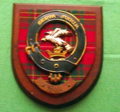 Vintage Nice Scottish Carved Oak Clan HAY Tartan Plaque Crest Shield