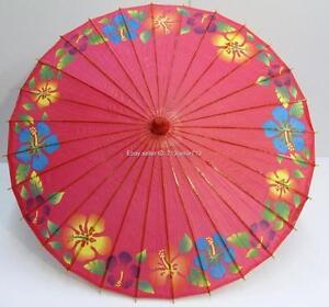 Pink japanese oriental paper bamboo parasol umbrella kasa for Paper swirl decorations