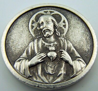 Catholic Medal Charm Prayer Pocket Token Sacred Heart Baby Jesus Antiqued Silver