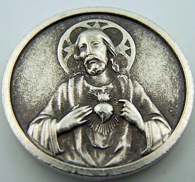 Catholic Medal Charm Prayer Pocket Token Sacred Heart Baby Jesus Antiqued Silver