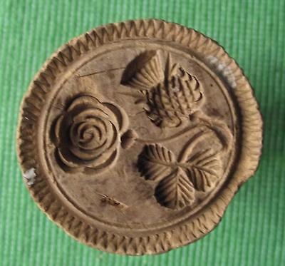 Lovely Old Scottish 19thC Wood Treen Carved Butter Stamp - Thistle Rose Shamrock