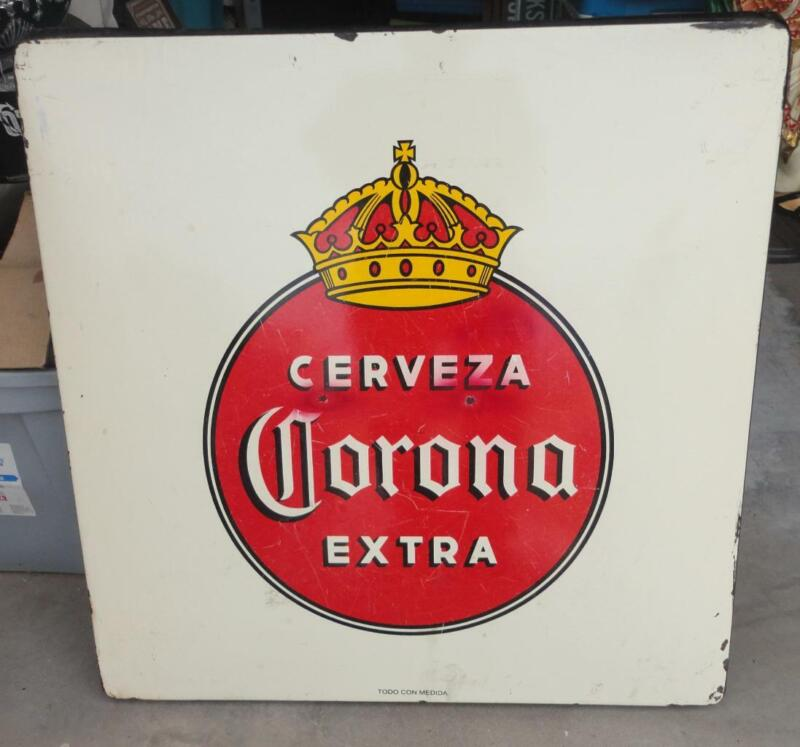 Cerveza Corona Beer Metal Folding Table Porcelain Top Mexican Bar Decor