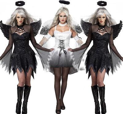 Damen Sexy Gefallener Dunkler Engel Halloween Kostüm Kleid mit - Dunkler Engel Kostüm Flügel