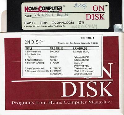 VTG 1984 HOME COMPUTER MAGAZINE VOL 4 NO 4 PROGRAMS ON DISK TI-99/4A   #238