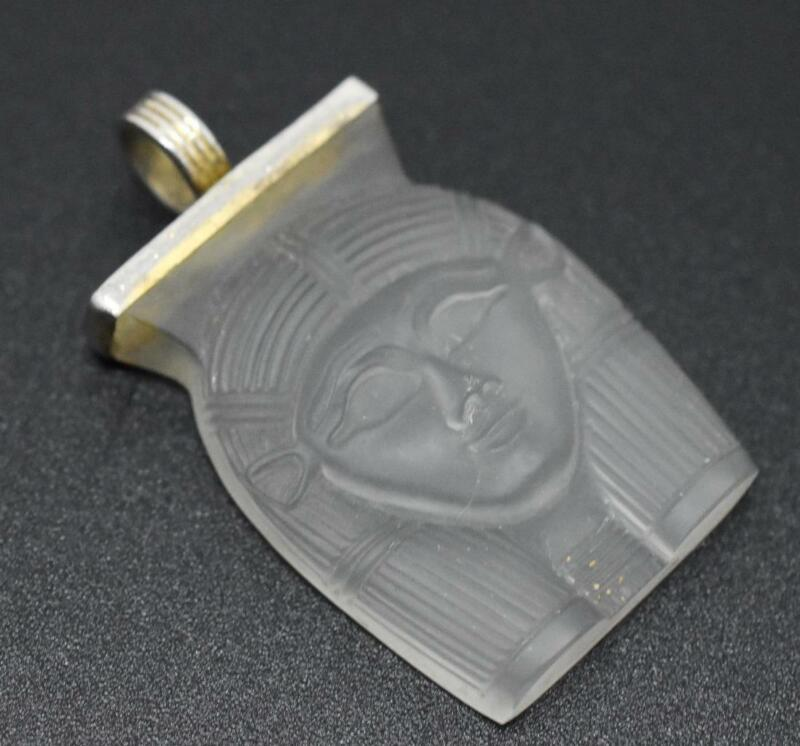 1976 MMA Metropolitan Museum of Art Crystal PHARAOH Sterling FINE Silver Pendant