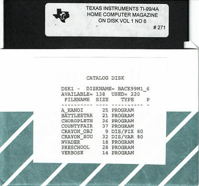 VTG 1985 HOME COMPUTER MAGAZINE VOL 1 NO 6 PROGRAMS ON DISK TI-99/4A   #271