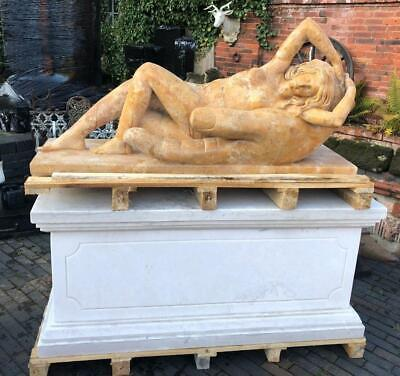 Stunning Large Solid Marble Sculpture on Base Naked Lady in Hand - 128cm x 143cm
